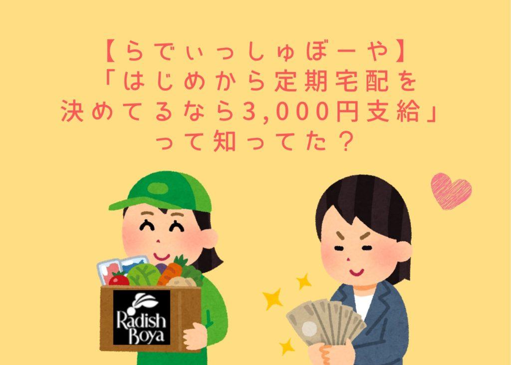 らでぃっしゅぼーや期間限定コロナ企画「はじめから定期宅配決めてるなら3,000円支給」