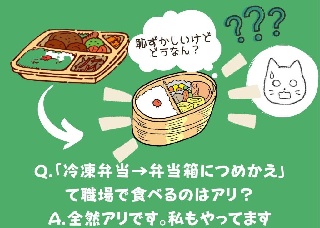 Q.「冷凍弁当→弁当箱につめかえ」て職場で食べるのはアリ?A.全然アリです。私もやってます