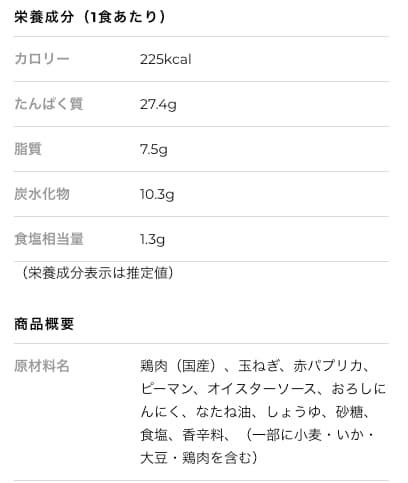 """「3 deli」""""タイの屋台のひき肉ガパオ風炒め""""の原材料表示"""